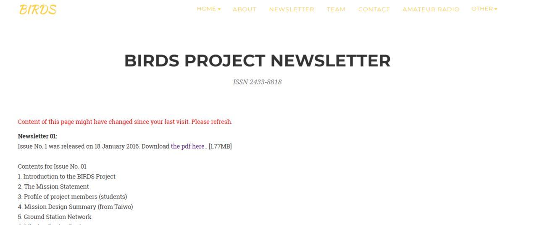 BIRDS Project Newsletter